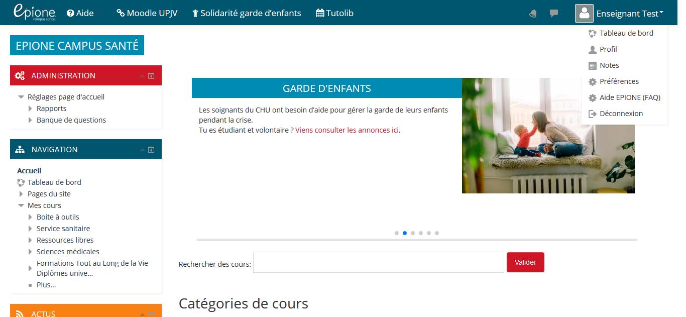 Image montrant le menu utilisateur accessible depuis le coin supérieur droit de la plateforme. Il faut cliquer sur le lien Préférences pour s'abonner aux notifications à chaque nouvel article publié dans la base de connaissances.
