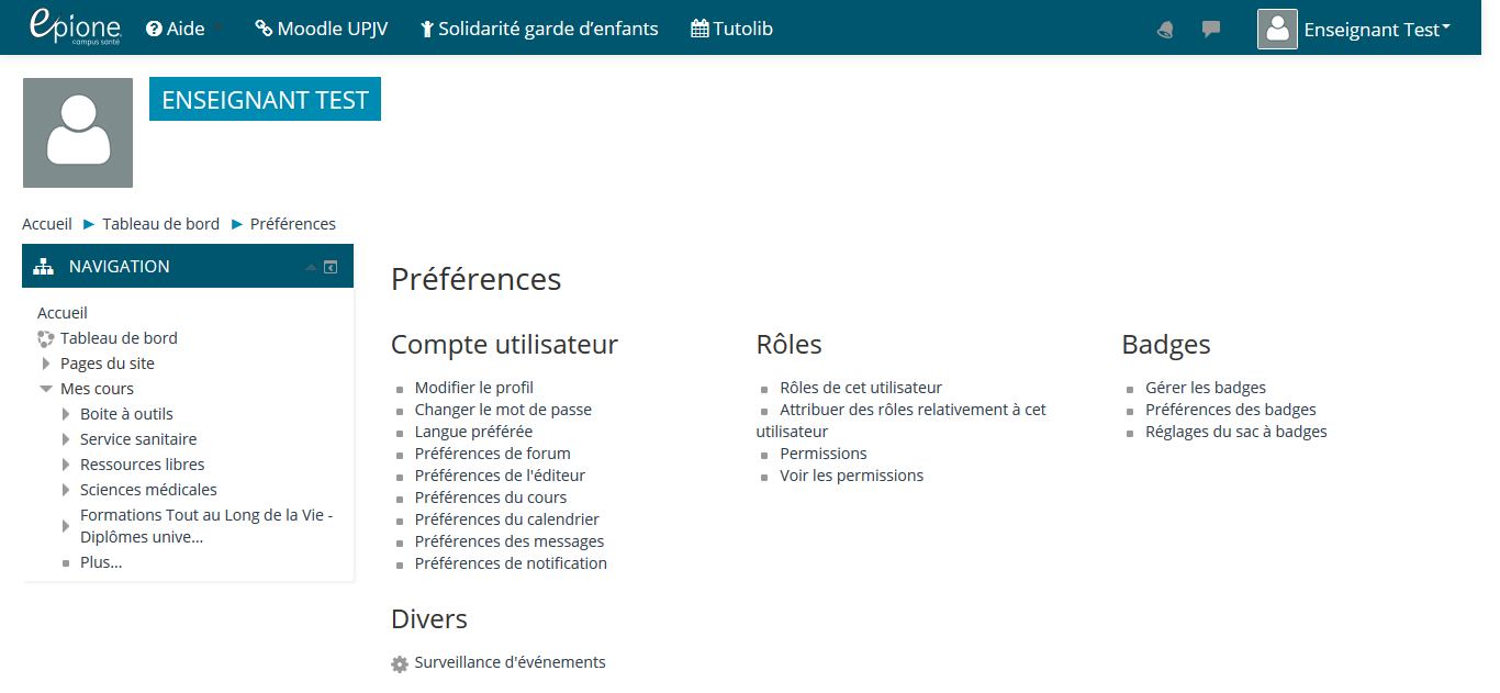 Image montrant la page de gestion du profil utilisateur. Pour s'abonner aux notifications des nouveaux articles de la base de connaissances, il faut cliquer sur le lien surveillance d'évènement dans la catégorie Divers, en bas à gauche.